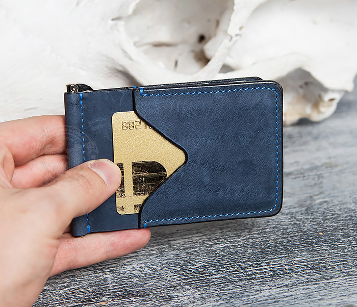 WB108-5 Зажим для денег из натуральной кожи джинсового цвета. «Boroda Design» фото 11