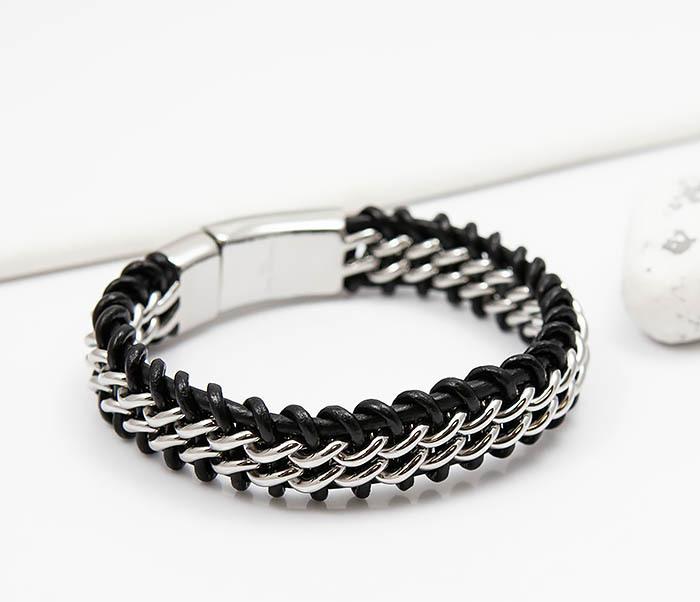 BM500-1 Массивный браслет из стали и кожаного шнура (21,5 см)