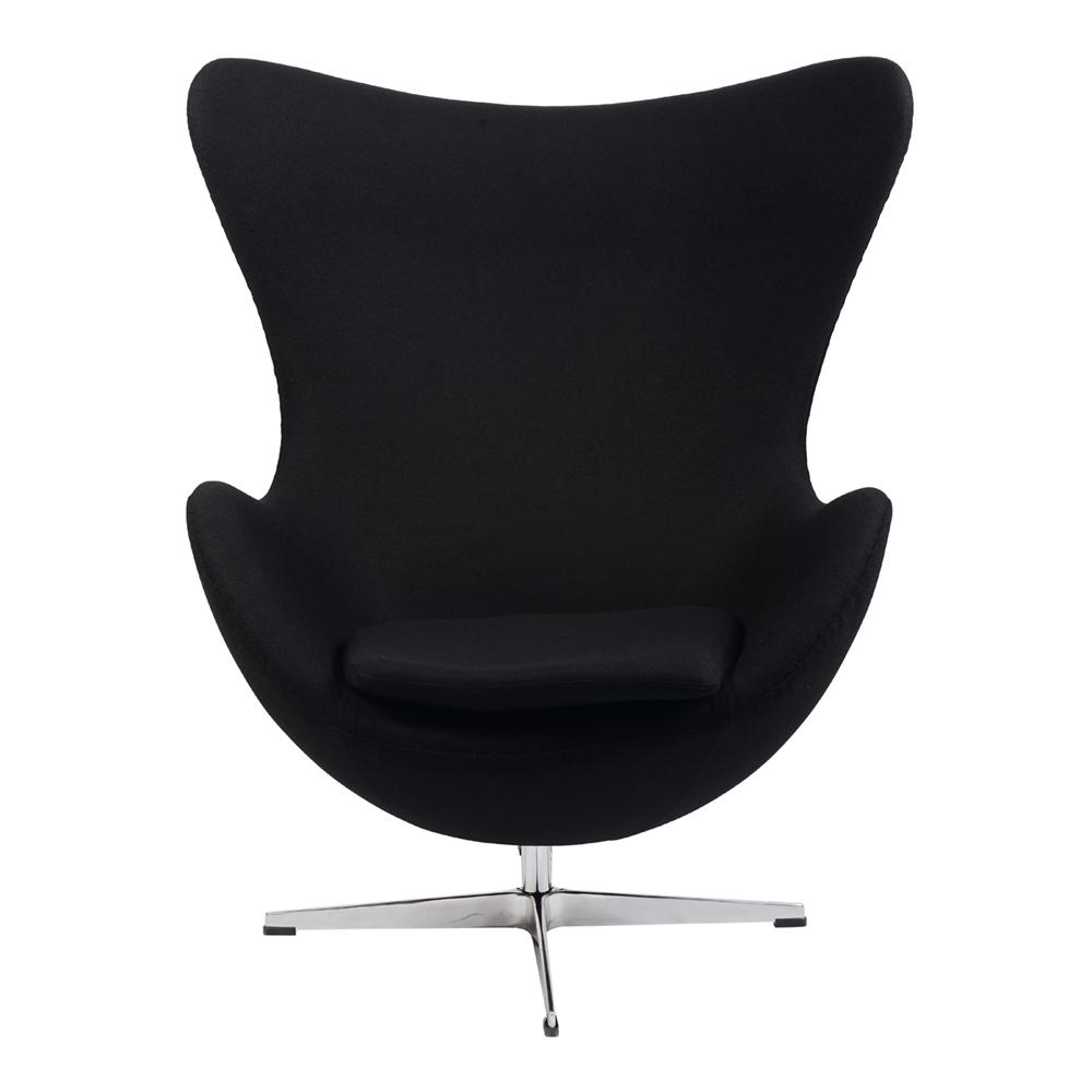 Кресло Arne Jacobsen Style Egg Chair черная шерсть - вид 2