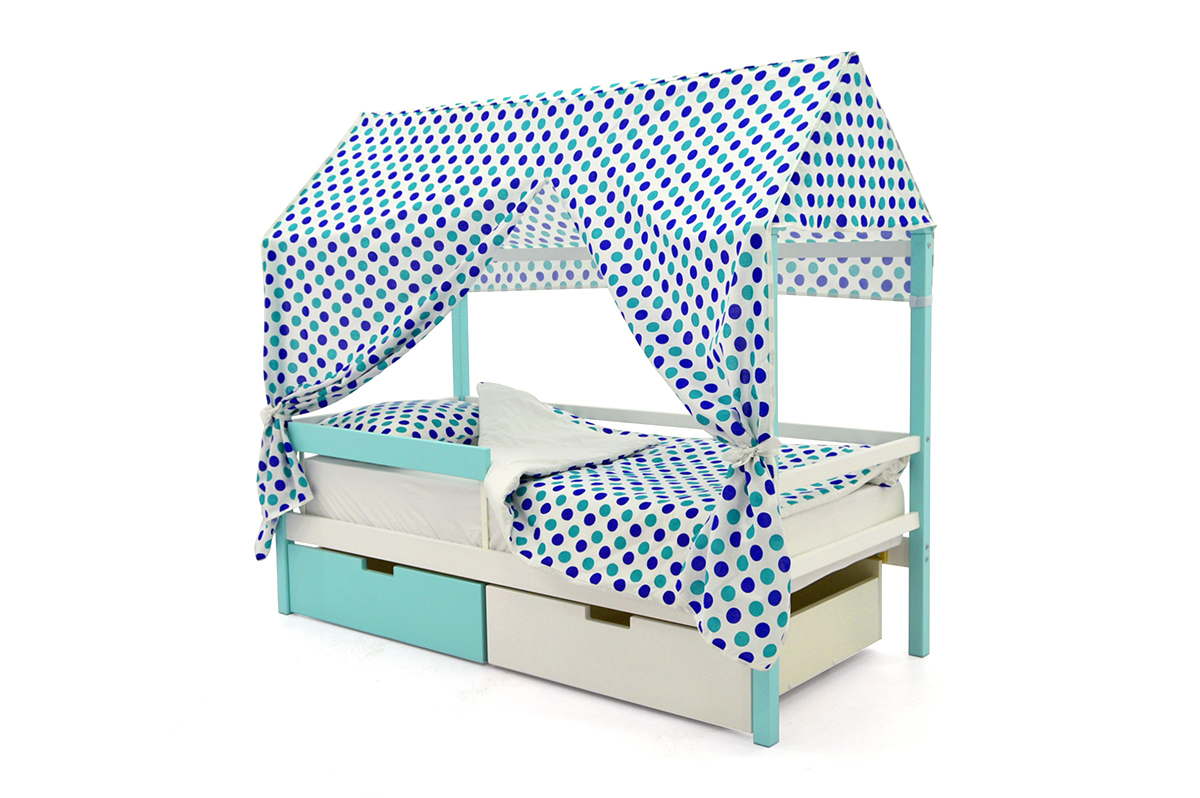Кровать-домик «Svogen мятно-белый»
