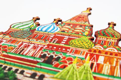 Деревянный пазл Собор Василия Блаженного 30х24см