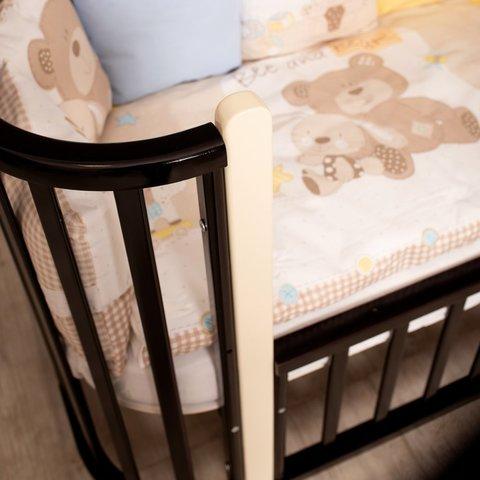 Кроватка MALIKA VERONA 3 в 1 венге, стойки слоновая кость