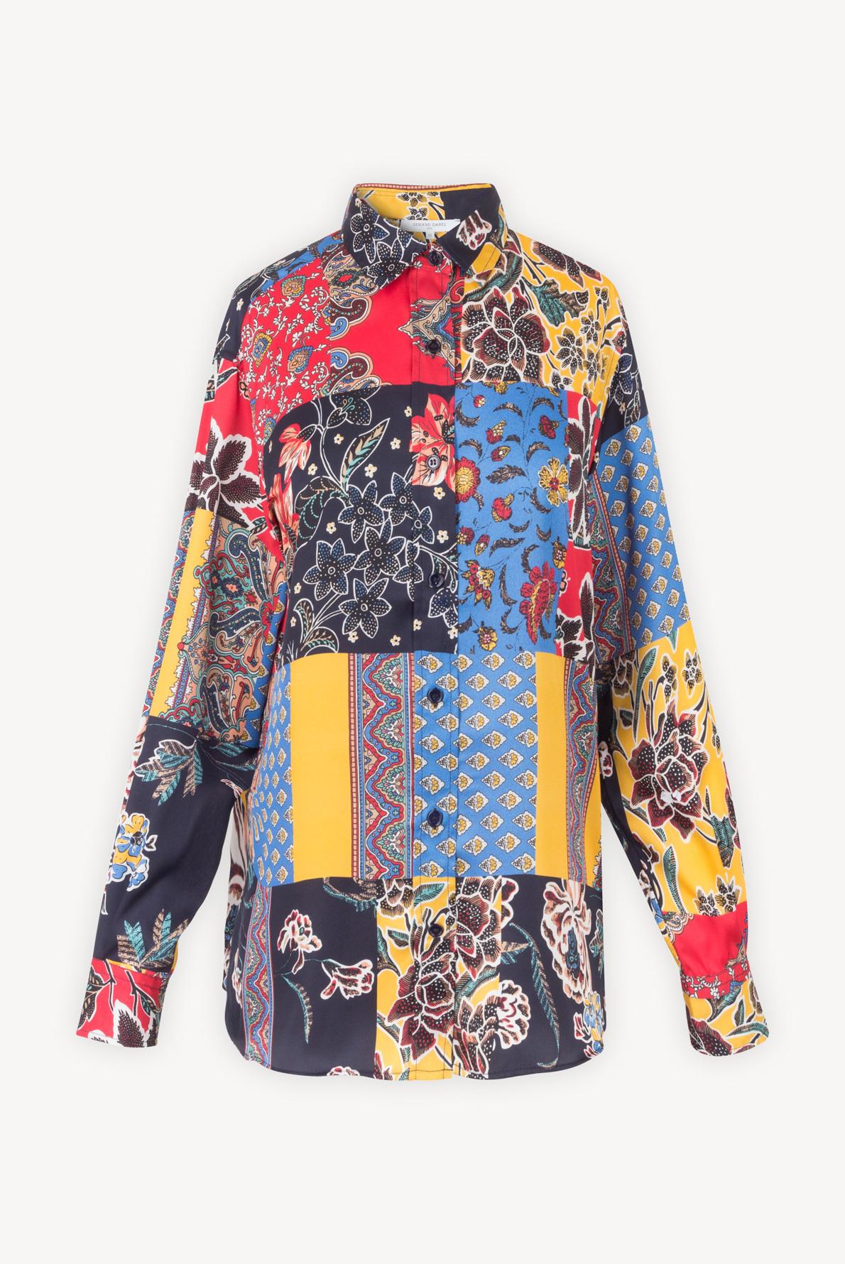 NESSA - блуза свободного кроя с принтом пэчворк