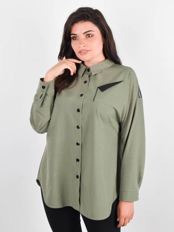 Николь. Женская рубашка для больших размеров. Олива.