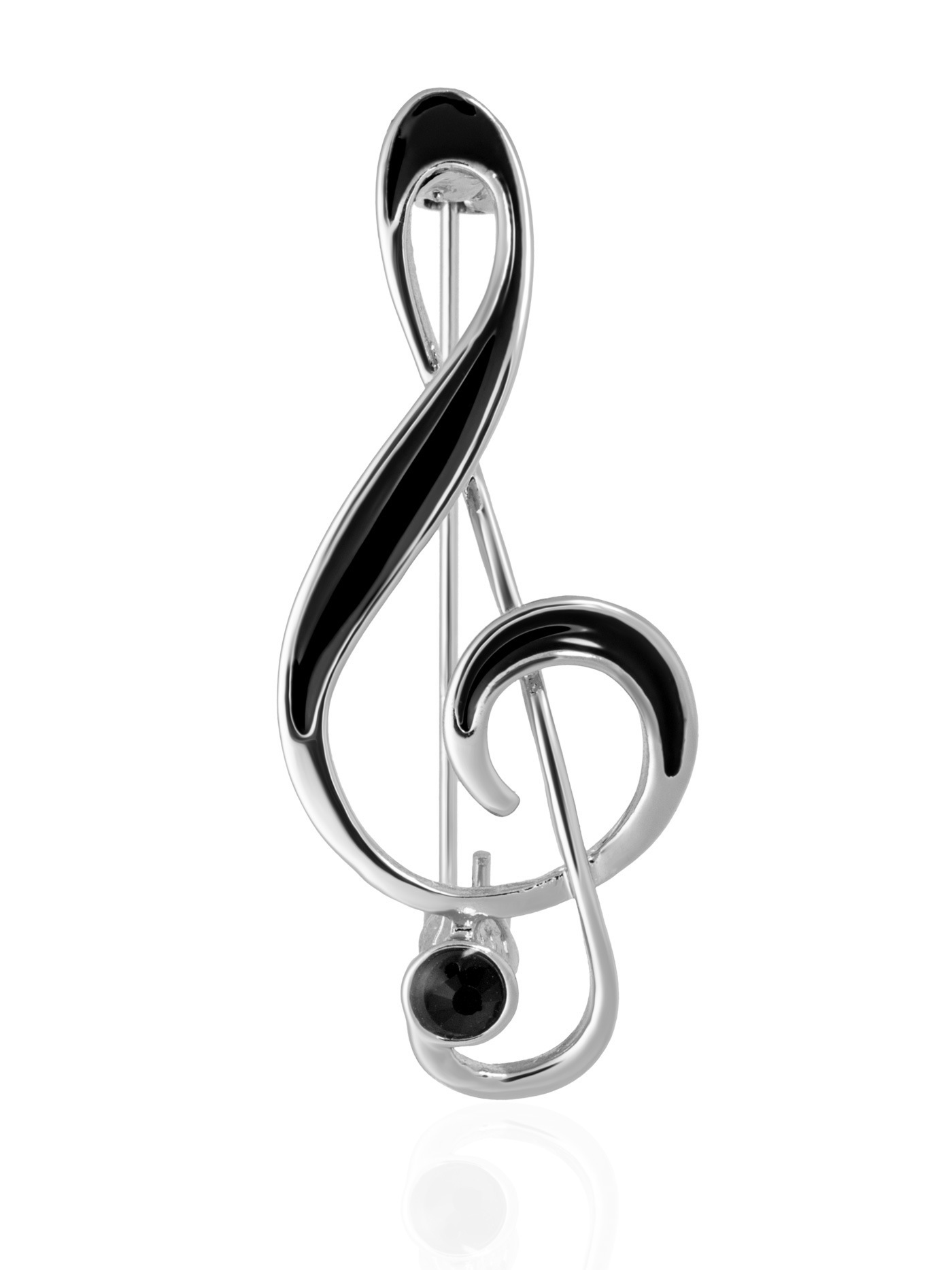 Брошь Скрипичный ключ с кристаллом