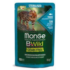 Пауч для стерилизованных кошек MONGE CAT BWILD GRAIN FREE из тунца с креветками и овощами