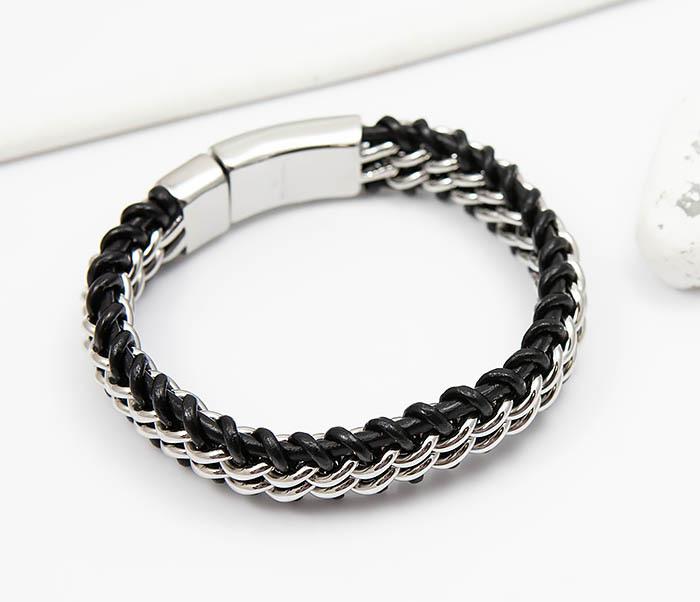 BM500-1 Массивный браслет из стали и кожаного шнура (21,5 см) фото 04