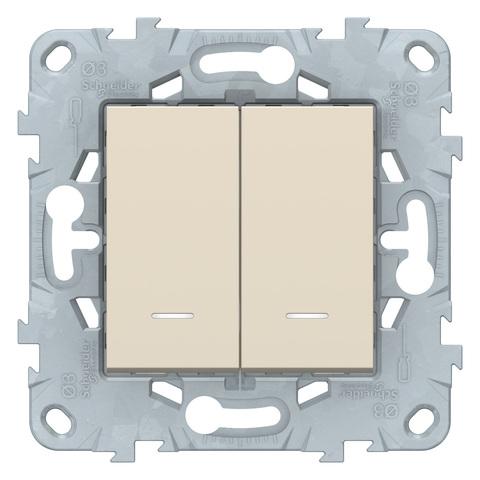 Выключатель двухклавишный с подсветкой. Цвет Бежевый. Schneider Electric Unica New. NU521144N