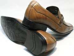 Повседневные туфли мужские кожа Mariner 12211 Light Brown.