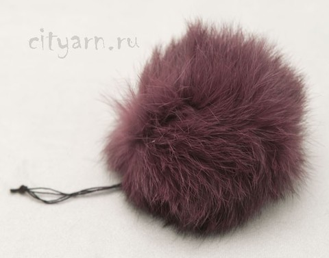 Помпон из меха кролика, цвета вишнёвого мусса, диаметр 8 см