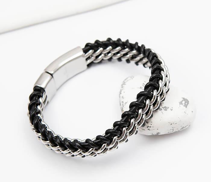 BM500-1 Массивный браслет из стали и кожаного шнура (21,5 см) фото 05