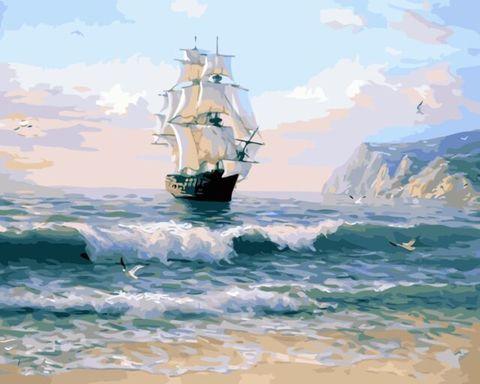 Картина раскраска по номерам 40x50 Корабль приближается к берегу