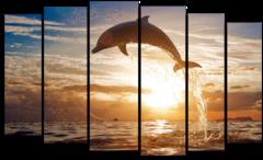"""Модульная картина """"Дельфин на закате"""""""