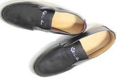 Черные полуботинки женские лоферы из натуральной кожи Rozen 6023+1 «Loro Piana».