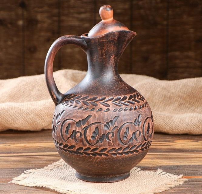 """Глиняный горшок Кувшин """"Греческий"""", декор, красная глина, 2 л, микс 700.jpg"""