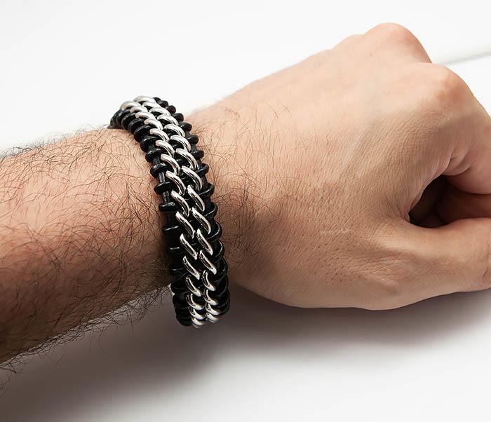 BM500-1 Массивный браслет из стали и кожаного шнура (21,5 см) фото 07