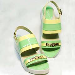 Модные женские сандалии с открытым носом Crisma 784 Yellow Green.
