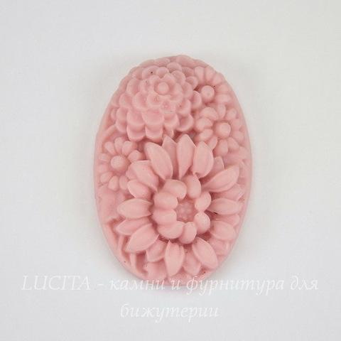 """Кабошон акриловый """"Цветы"""", цвет - розовый, 32х22 мм"""