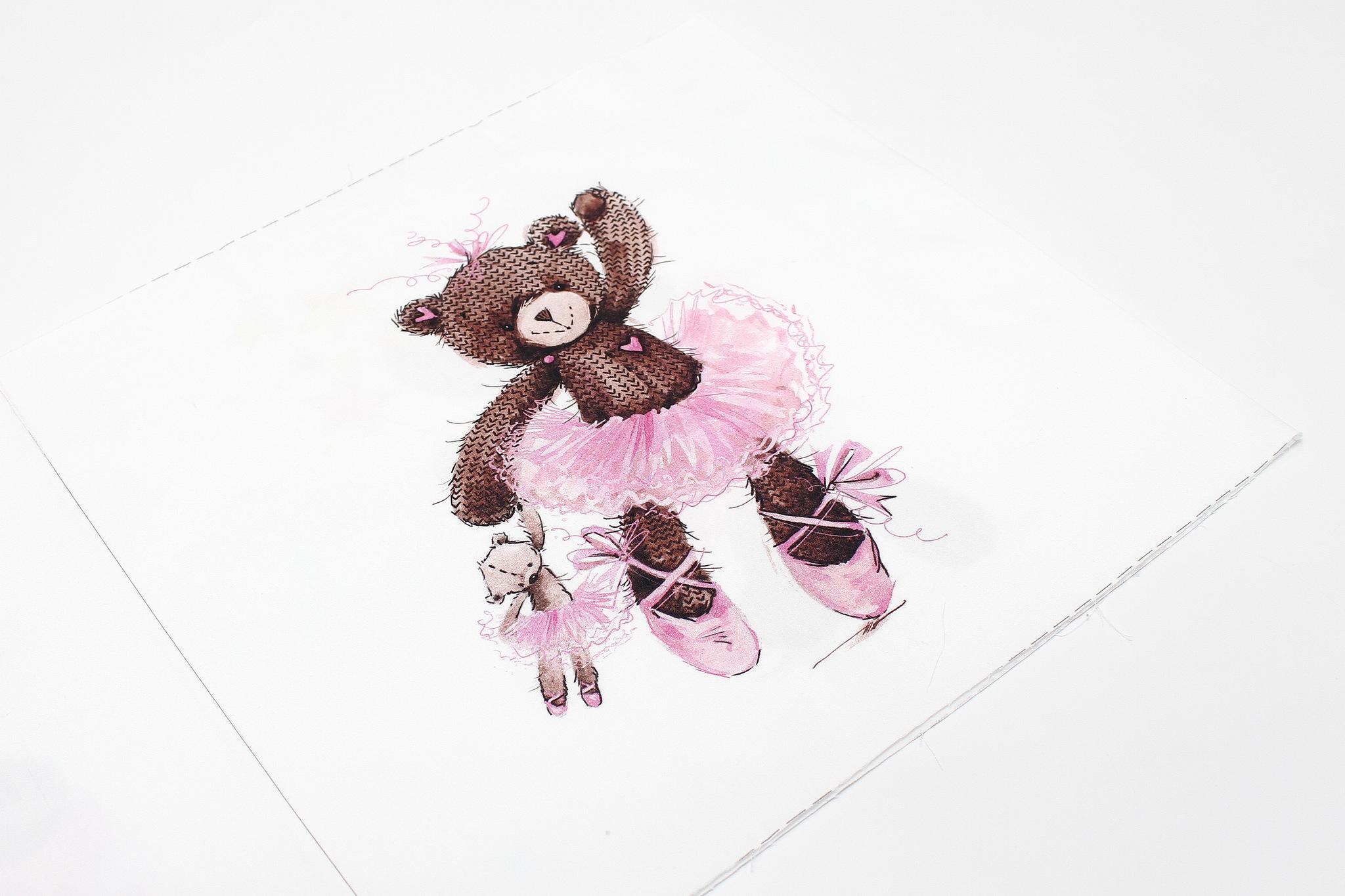 Панель(купон) мишки-балерины-35*35 см, 4 шт.
