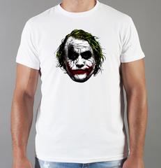 Футболка с принтом Джокер, Тёмный рыцарь (Joker, The Dark Knight, Хит Леджер) белая 0056