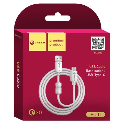 Дата кабель белого цвета с разъемом Type-C, длина 1,5 метра