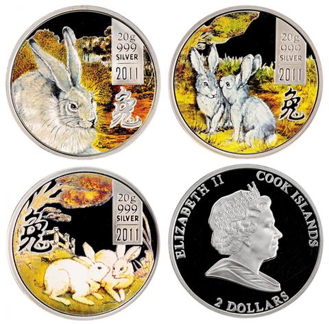 Набор из 3 монет 2 доллара о. Кука. Год кролика. Серебро. 2011 г. exPROOF с цветной печатью