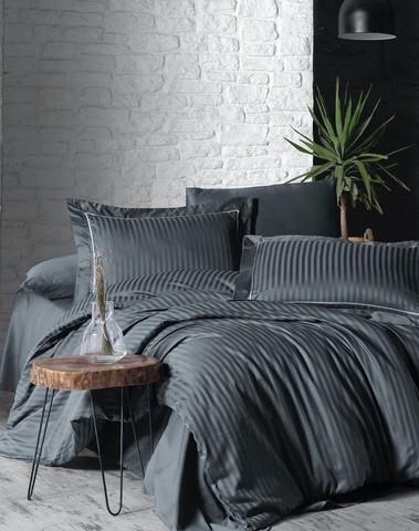 Комплект постельного белья DO&CO Сатин  жаккард DELUX 2 спальный (Евро) LINEAR цвет антрацит
