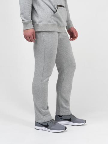 Спортивные штаны цвета серый меланж без лампасов, без манжета