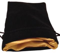 Черный бархатный мешочек для кубиков с золотой атласной подкладкой