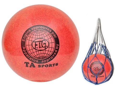Мяч для художественной гимнастики. Диаметр 15 см. Цвет красный с добавлением глиттера. К мячу прилагается сетка для переноски. :(Т12):