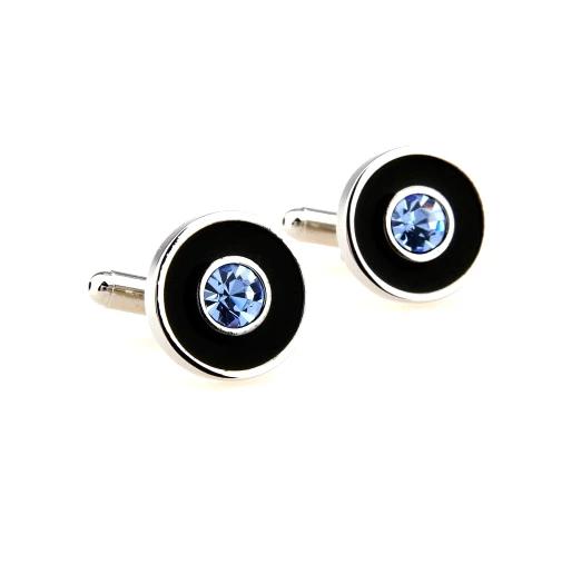 Красивые и стильные запонки круглые с синим камнем и чёрной эмалью из ювелирной медицинской стали 316L