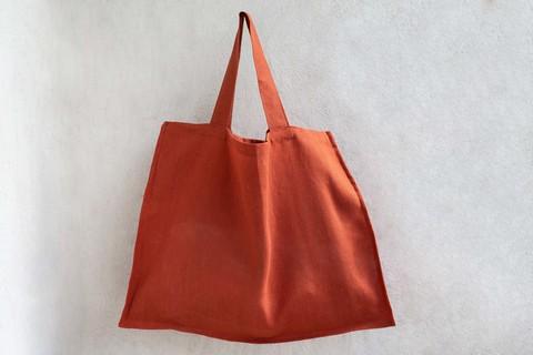 Льняная вместительная сумка маркет-бэг макси