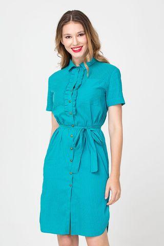 Фото бирюзовое платье-рубашка в прямого силуэта в мелкую полоску - Платье З366-320 (1)