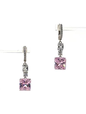 89067- Серьги из серебра с розовым кварцем огранки принцесса