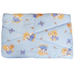 Папитто. Одеяло детское стеганое полушерстяное, 110х140 см  голубой вид 6