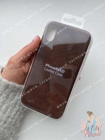 Чехол iPhone X/XS Leather case full /brown/