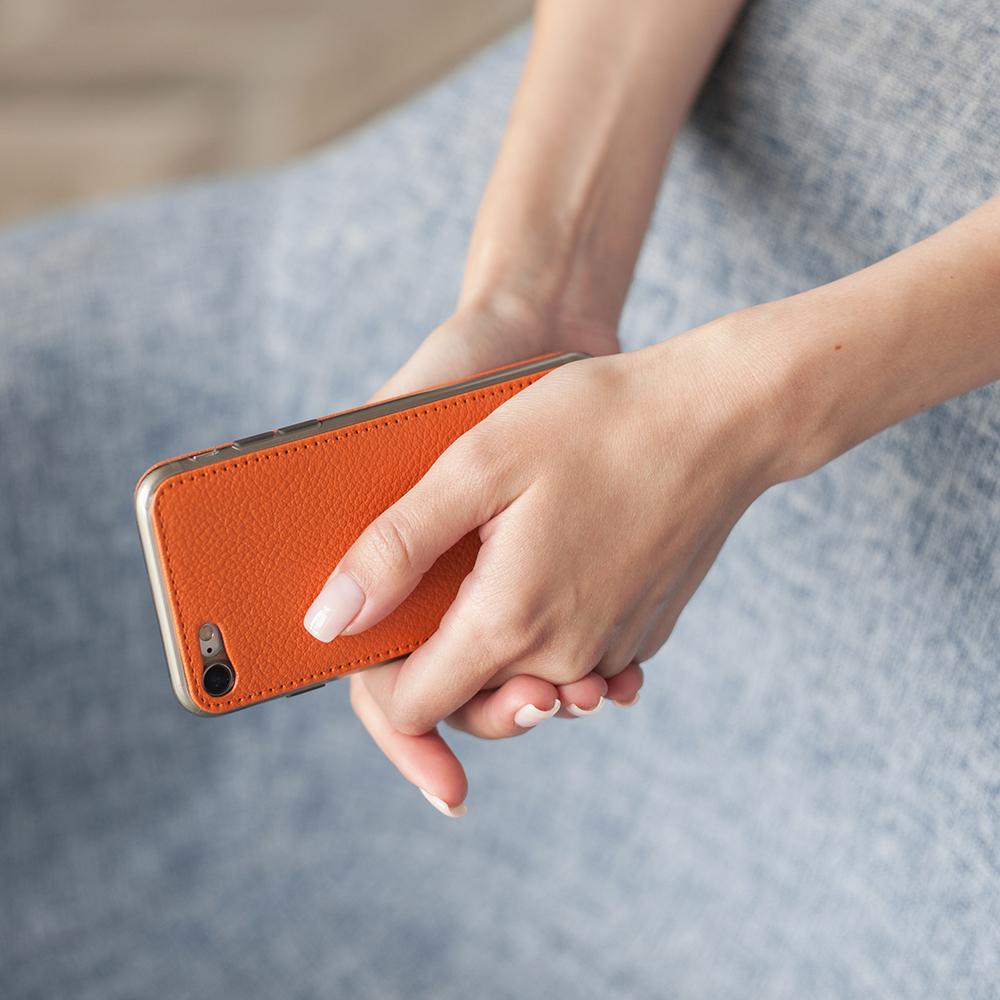 Чехол для iPhone SE/8 из натуральной кожи теленка, оранжевого  цвета