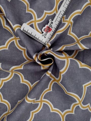 Ткань duck с тефлоновой пропиткой Ромбы арабеска Серый