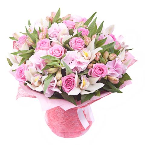Букет с гортензией (3шт), розами (13шт) и орхидеей (7шт)