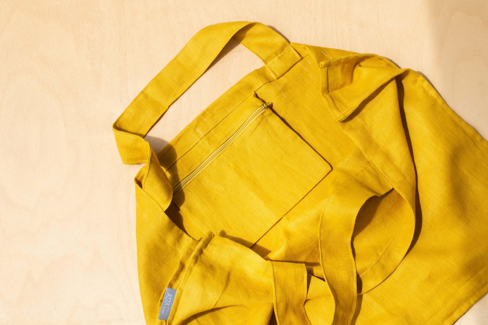 Льняная объемная сумка для покупок