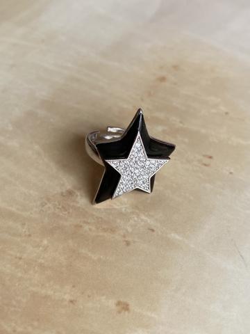 Кольцо Звезда черное, серебро
