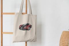 Сумка-шоппер с принтом Bugatti Veyron (Бугатти Вейрон) бежевая 007