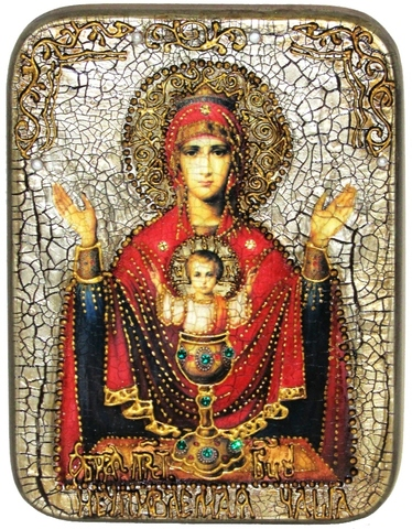 Инкрустированная икона Образ Божией Матери Неупиваемая чаша 20х15см на натуральном дереве в подарочной коробке