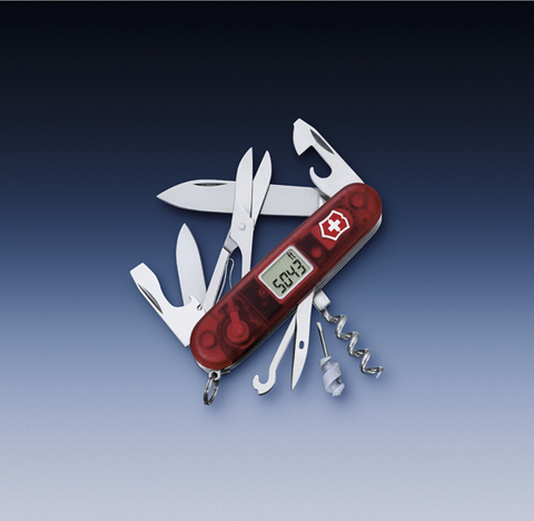 Нож Victorinox Traveller, 91 мм, 27 функций, полупрозрачный красный123