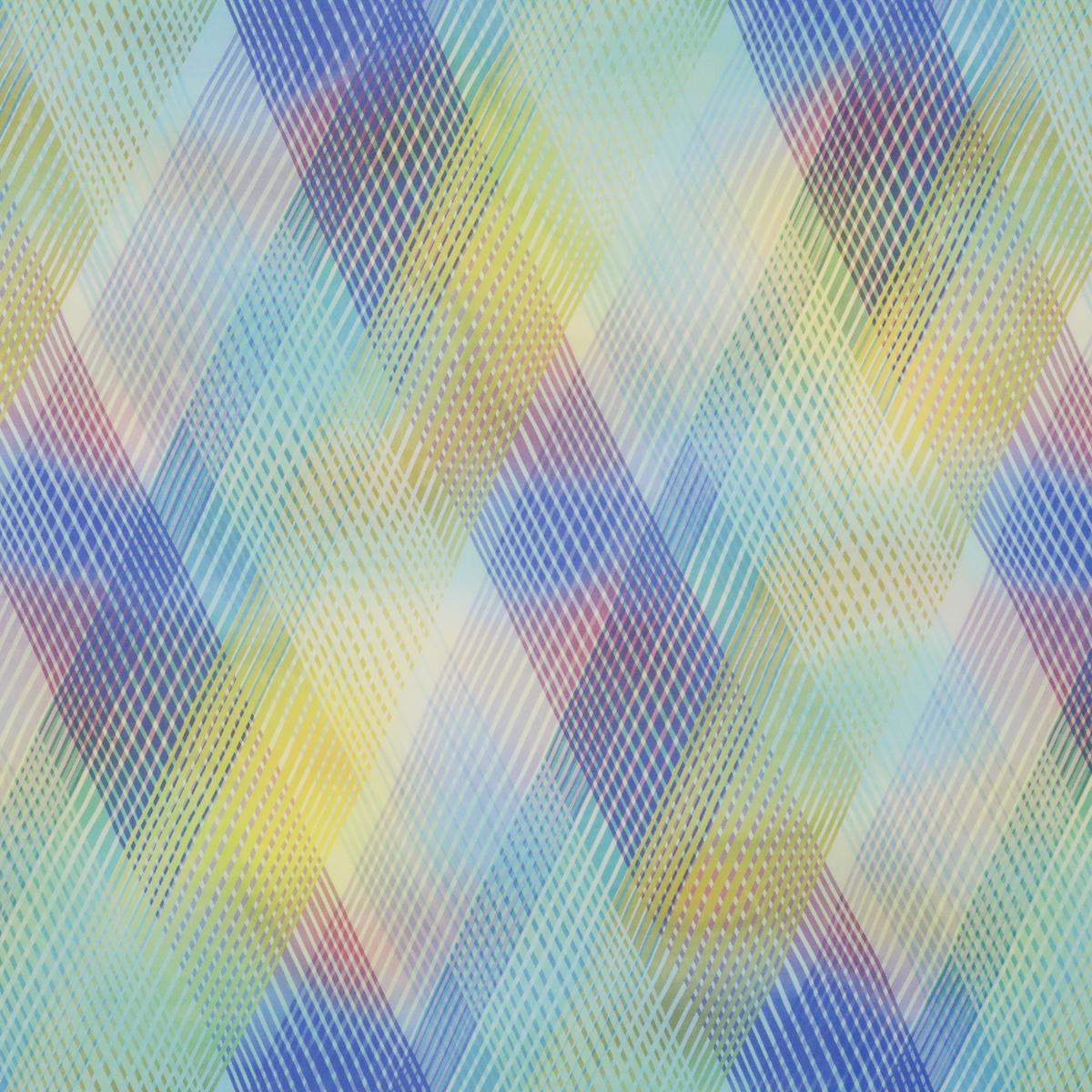 Шёлковая вуаль в диагональные полоски голубой гаммы