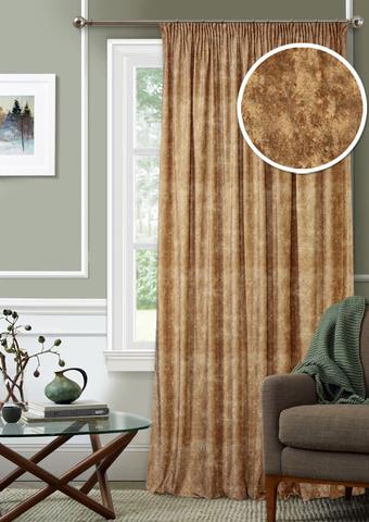 Готовая штора с подхватом Бархат коричневый