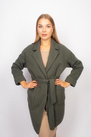 Зеленое трикотажное пальто недорого