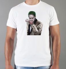 Футболка с принтом Джокер, Отряд самоубийц (Joker, Suicide Squad, Джаред Лето) белая 002