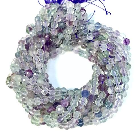 Бусины флюорит А граненый 4 мм цена за 48 бусин (~18 см)