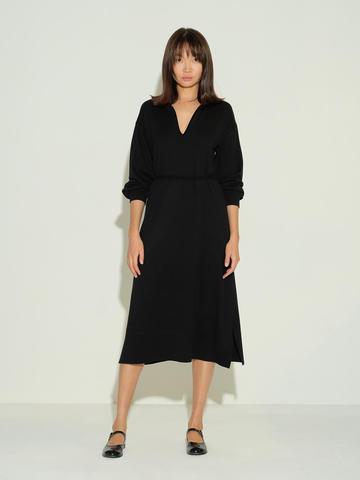 Женское платье черного цвета из шелка и кашемира - фото 2